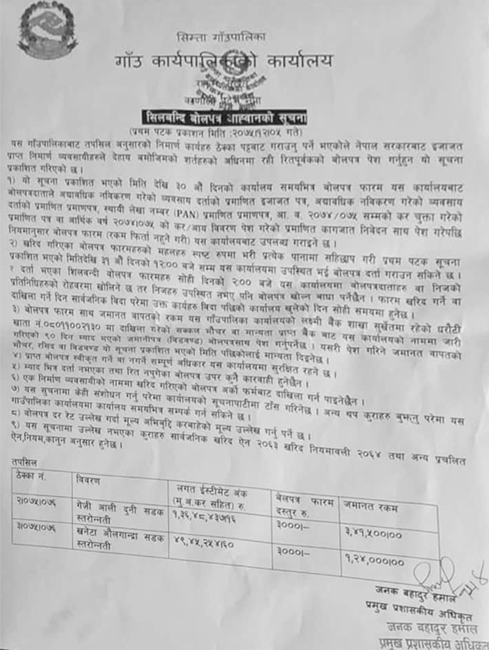 Notice of Simta Rural Municipality
